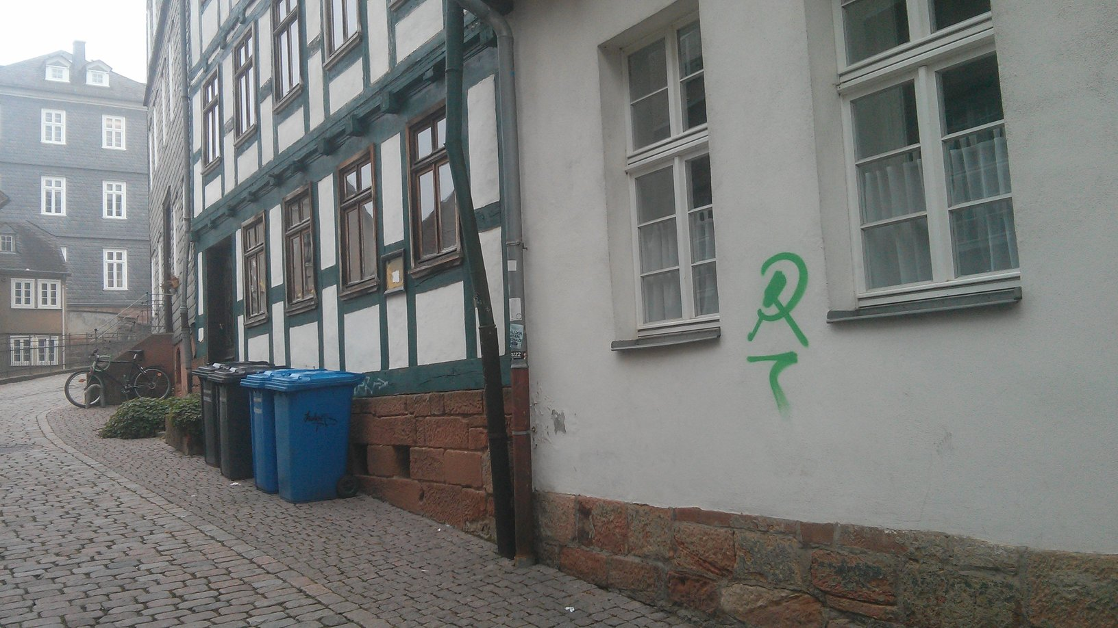 medieval houses? check. cute little bakeries? check. graffiti? check. oh wait.